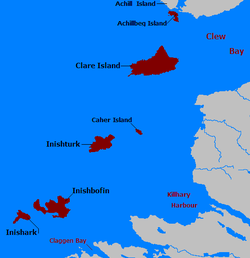 Kort over øer i County Mayo