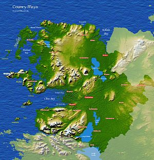 Mullet Peninsula - A map of County Mayo, with the Mullet Peninsula marked in the top left