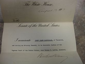 James Clark McReynolds - McReynolds's Supreme Court nomination