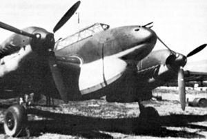 "Messerschmitt Bf 110 - A Bf 110D-0 with an early ""dachshund's belly"" fuel tank"