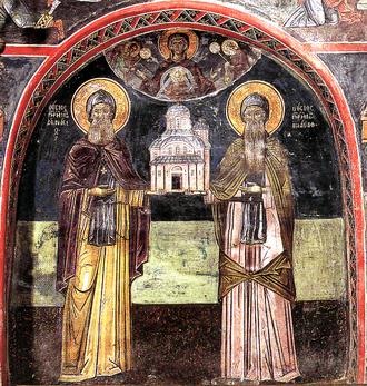 John Uroš - Fresco of John and Athanasios of Meteora, in Megala Meteora, Greece