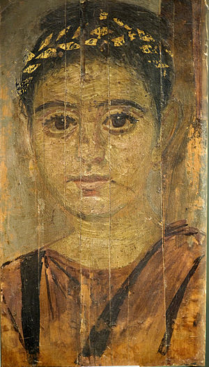Roman funerary practices - Mummy portrait of a girl wearing a gold wreath, from Roman Egypt