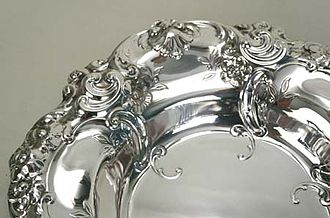 "Gorham Manufacturing Company - Border detail of a ""Melrose"" pattern bowl by Gorham"