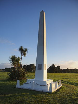 James Mackay (New Zealand politician, born 1831) - The Okarito Memorial Obelisk commemorates three key events of significance to the West Coast: Abel Tasman's sighting of 1642, James Cook's voyage of 1770, and James Mackay's purchase of Westland in 1860