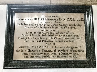 Charles Merivale - Memorial to Charles Merivale in St Mary's Church, Lawford