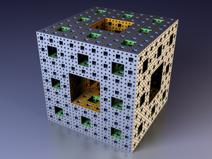 Menger sponge - Image 1: An illustration of M4, the sponge after four iterations of the construction process.