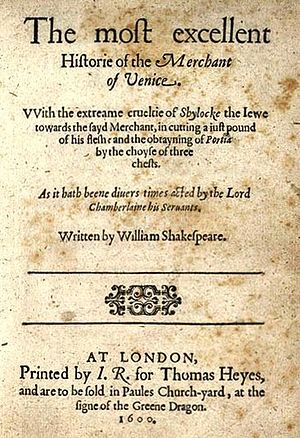 The Merchant of Venice - Title page of the first quarto (1600)