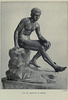 "alt=Illustration of bronze statue of a nude male youth, seated on a rock with one leg outstretched, leaning on the opposite thigh, from the 1908 volume Buried Herculaneum by Ethel Ross Barker; caption reads ""Mercury in Repose"""