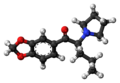 Methylenedioxypyrovalerone molecule ball.png