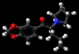 Methylenedioxypyrovalerone - Image: Methylenedioxypyrova lerone molecule ball