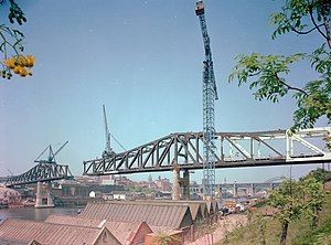Tyne and Wear Metro - The Queen Elizabeth II Bridge under construction in 1978.