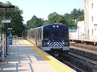 Metro-North Railroad - An M7 train at Bronxville on the Harlem Line.