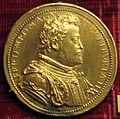 Michele mazzafirri, medaglia di ferdinando de' medici duca e fortezza di livorno, 1588 (bronzo dorato).JPG