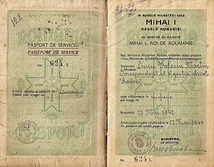 Mihai Antonescu - Mihai Antonescu  signed and issued this 1942 Service passport for a war-correspondent.