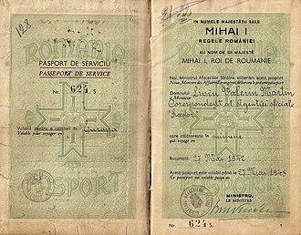 Mihai Antonescu - Mihai Antonescu  signed and issued this 1942 Service passport for a war-correspondent.