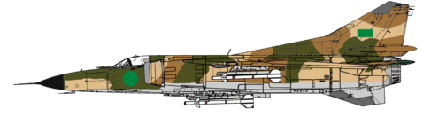 An exmaple of a Mikoyan-Gurevich MIG-23MS in the 1977 to 2011 Libyan Arab Republic Air Force Camo carrying 4 Atoll missiles. Notice the change in the roundel.