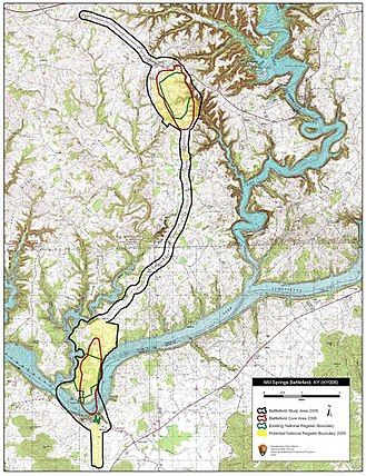 Battle of Mill Springs - Map of Mill Springs Battlefield core and study areas by the American Battlefield Protection Program.