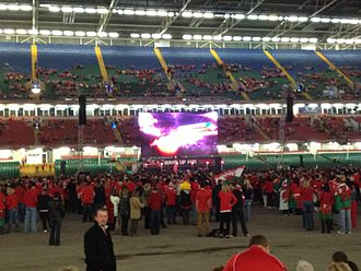 Millennium Stadium - The big screen and some of the fans just after the doors opened for the semi-final between Wales and France