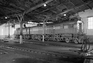 Boxcab - A 2-unit boxcab electric locomotive of the Milwaukee Road.