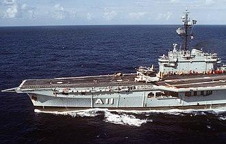 Brazilian aircraft carrier Minas Gerais - Minas Gerais about to launch an S-2 Tracker