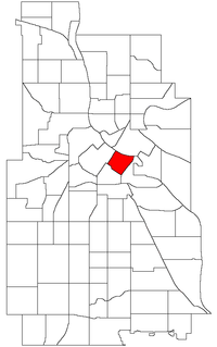 Location of Downtown East within the U.S. city of Minneapolis