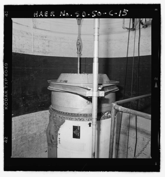 File:Missile cap with collar and cables attached - Ellsworth Air Force Base, Delta Flight, Launch Facility, On County Road T512, south of Exit 116 off I-90, Interior, Jackson County, SD HAER SD-50-C-15.tif
