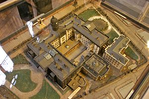 Manchester Royal Infirmary - A model of the premises in the present-day Piccadilly Gardens