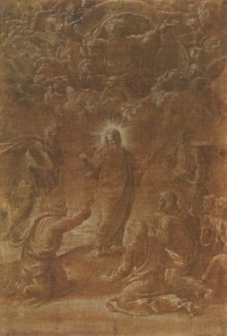 Transfiguration (Raphael) - Modello for the Transfiguration of Christ, pen and brown ink with white highlights on paper primed with dark brown wash, 40 x 27 cm, c. 1516, Albertina