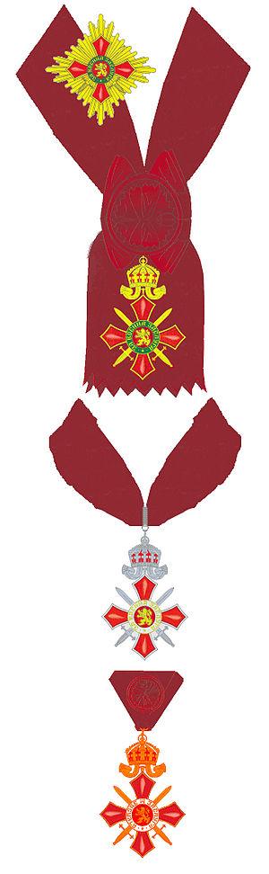 Order of Military Merit (Bulgaria) - Image: Moderne versierselen van de Bulgaarse Orde van Militaire Verdienste