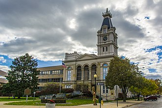 Schuyler County Courthouse (Illinois) - When built, the courthouse strongly resembled Michigan's Monroe County Courthouse