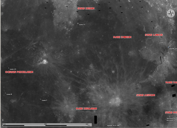 Moon map Luna 17 Luna 2 Apollo 15 Surveyor 6 Surveyor 4 Luna 7 Luna 8 Luna 11
