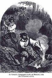 Lithographie Le Vampire par R. de Morain, pour la couverture du roman de Paul féval