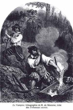 Vampire folklore by region - Le Vampire,  lithograph by R. de Moraine Les Tribunaux secrets (1864)