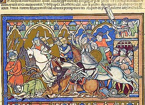 """Morgan Bible - """"The Israelites are repulsed from Hai"""" (fol. 10r)"""