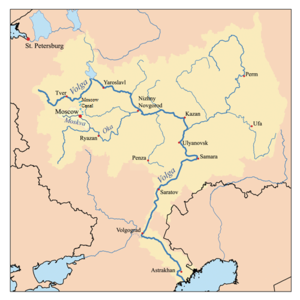 Moskva River - Map of the Volga watershed with the Moskva highlighted; the two rivers are directly connected by the Moscow Canal
