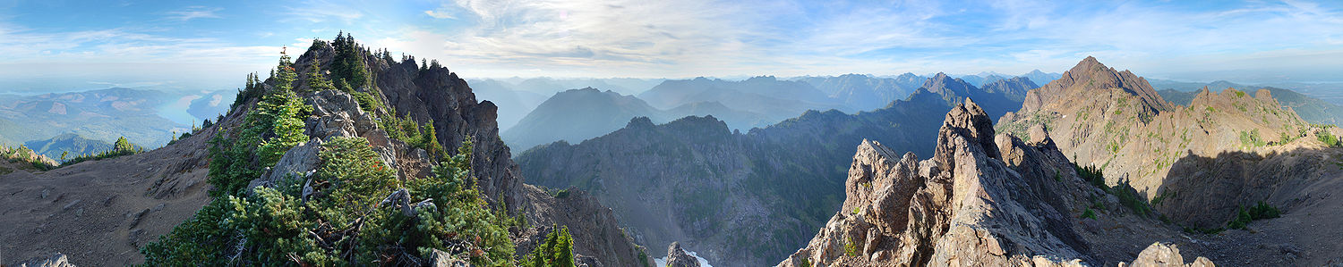 View from near the summit of Mount Ellinor in the Olympic National Forest of Washington. showing Mount Washington, Puget Sound, and various other landmarks.