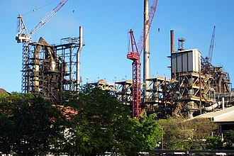 ISASMELT - Mount Isa copper smelter in 2002. The building beneath the left-hand crane is the ISASMELT plant.