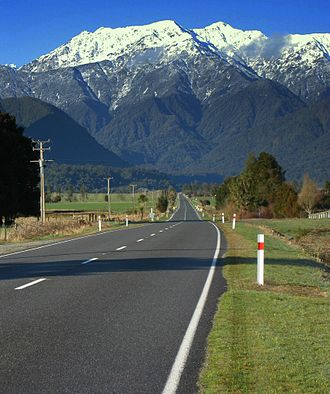 Southern Alps - View of the western Southern Alps from a road near Hari Hari, Westland