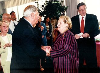 Jacques Paul Klein - Mr. Klein, Madame Madeleine Albright and Ambassador Richard Holbrooke at the US Mission to the United Nations