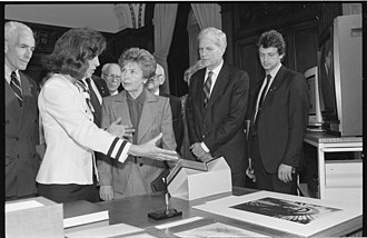 James H. Billington - Billington watches as Raisa Gorbachev listens to Marilyn Quayle at a display of books and other items at the Library of Congress in 1990