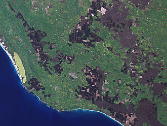 Mount Gambier, South Australia - Mount Gambier and region as seen from space
