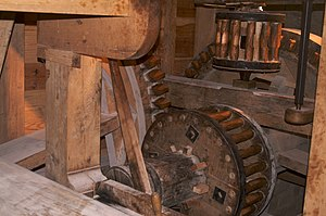 George Washington's Gristmill - The internal millworkings are enclosed in a heavy oak frame