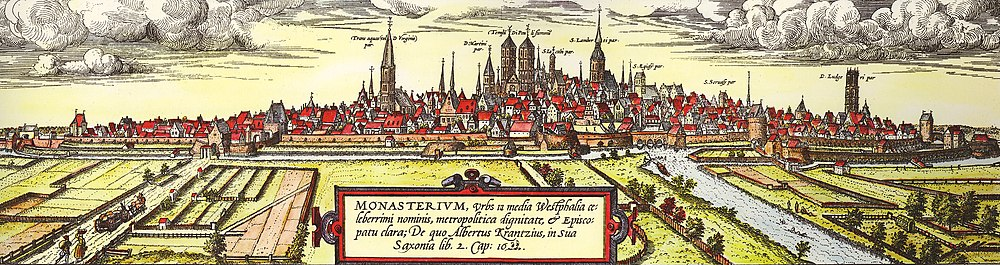 View from the south-west of Münster in 1570 as seen by Remius Hogenberg. On the left is the Überwasserkiche, in the center is St. Pauls Cathedral and to its right St. Lambert's Church, and on the far right is the Ludgerikirche