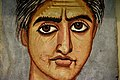 Mummy portrait of a woman from Fayum, Hawara,modern-day Egypt. The portrait was painted in encaustic on wood. Roman, 300-325 CE. The British Museum, London.jpg