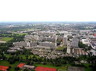 Olympic Village, Munich - The Olympic Village in Munich as viewed from the Olympic Tower.