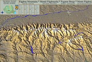 Făgăraș Mountains - Relief map - Tourist Map