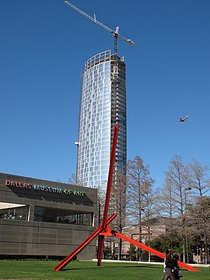 Museum Tower (Dallas) - Museum Tower while still under-construction in February 2012