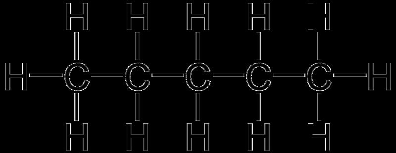 Strukturformeln för pentan.