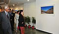 """N.N. Vohra and the Chairperson, National Advisory Council, Smt. Sonia Gandhi visiting the """"Zanskar – The Rainbow Mountains"""" an exhibition of photographs by Smt. Usha Vohra in New Delhi on February 08, 2013.jpg"""