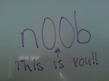 n00b on a whiteboard